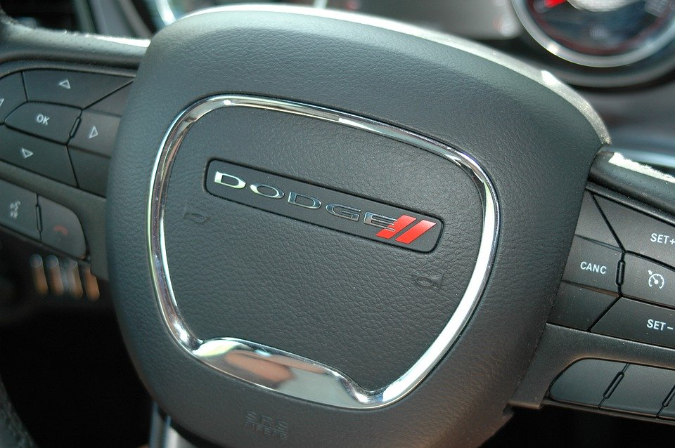 The steering wheel of a Dodge Challenger
