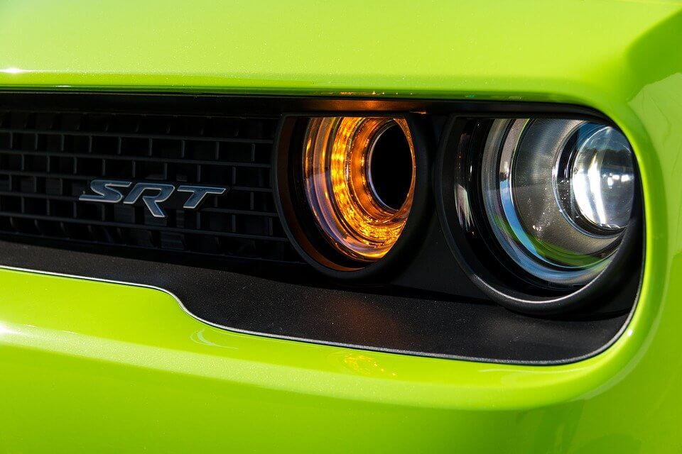 Front grill of a green SRT Dodge Challenger
