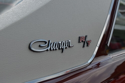 The Charger R/T logo on a Dodge Charger